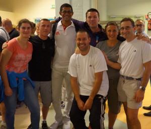 De gauche à droite : Charlotte, Bruno, Xavier, Fabien, Nathalie, Christophe ( notre Président) et le numéro complémentaire, au premier plan, Frantz.