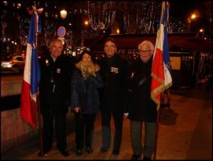 L'UNC de Sèvres était présente à ce grand rassemblement : de gauche à droite le président de  l'UNC de Sèvres portant le drapeau de la section, la vice-présidente , le président du comité du Souvenir Français de SEVRES et son porte drapeau.